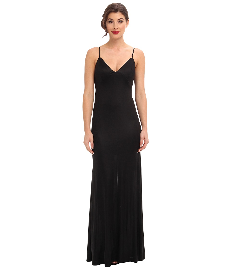 ABS Allen Schwartz Gloss Jersey Slip Gown w/ Low Back Cascade (Black) Women