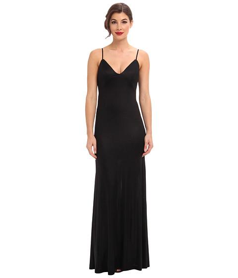 ABS Allen Schwartz - Gloss Jersey Slip Gown w/ Low Back Cascade (Black) Women