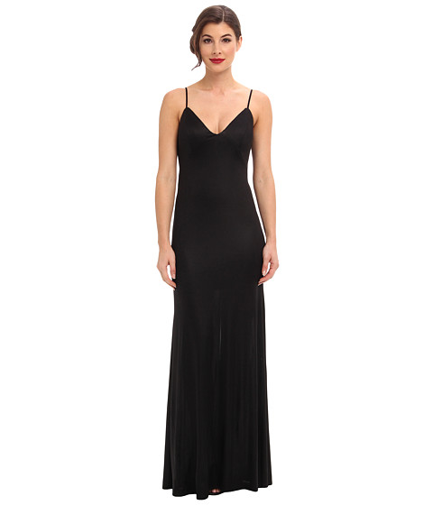 ABS Allen Schwartz - Gloss Jersey Slip Gown w/ Low Back Cascade (Black) Women's Dress