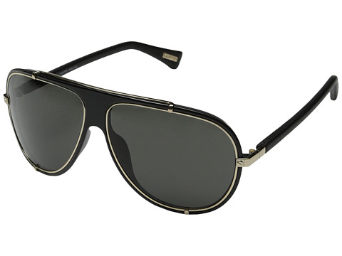 Lanvin - SLN021 (Black/Gold Leather/Grey) Fashion Sunglasses