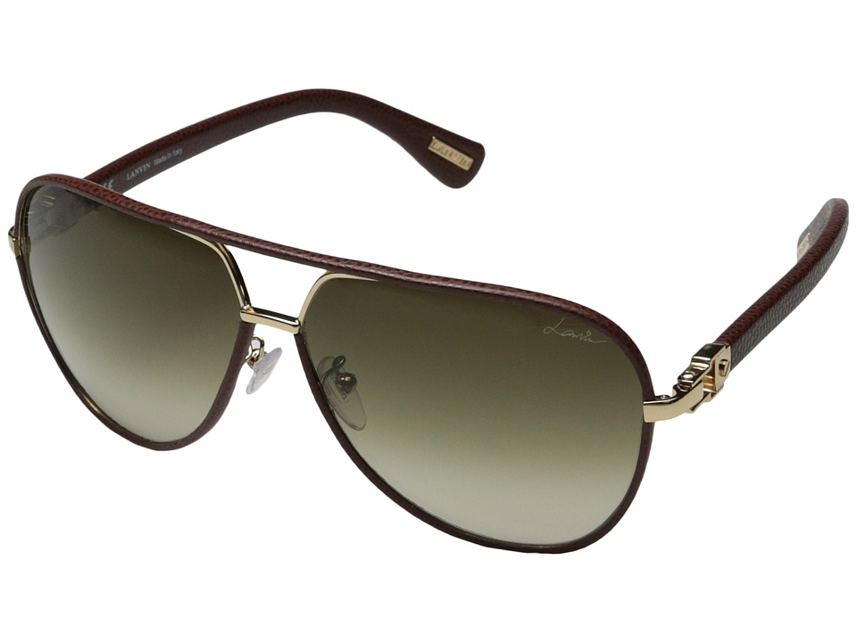 Lanvin - SLN022 (Burgundy Leather/Gold/Gradient Brown) Fashion Sunglasses