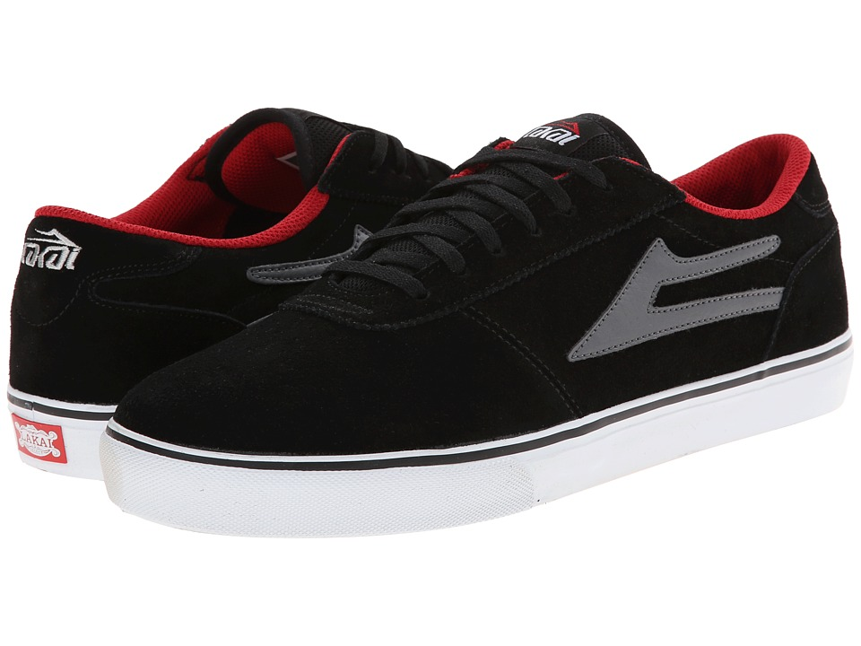 Lakai - Manchester Select (Black/Grey/Red Suede) Men's Skate Shoes