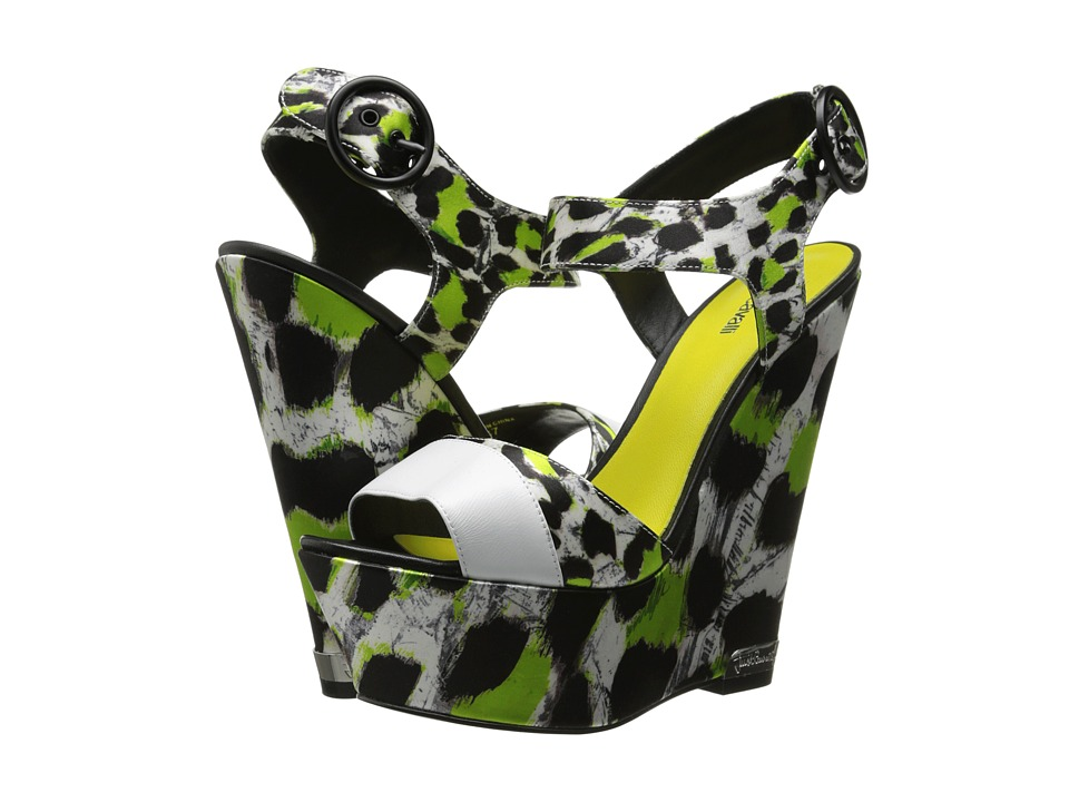 Just Cavalli - Mixed-Print Peep-Toe Wedges (Black/White Paint Leo Printed Satin) Women