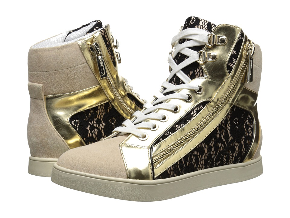 Just Cavalli - Printed High-Top Sneakers (Nude Satin with Lace) Women's Lace up casual Shoes
