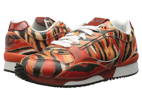 Just Cavalli - S09WS0015 (Orange Variant Paint Tiger Printed Leather) Women's Lace up casual Shoes