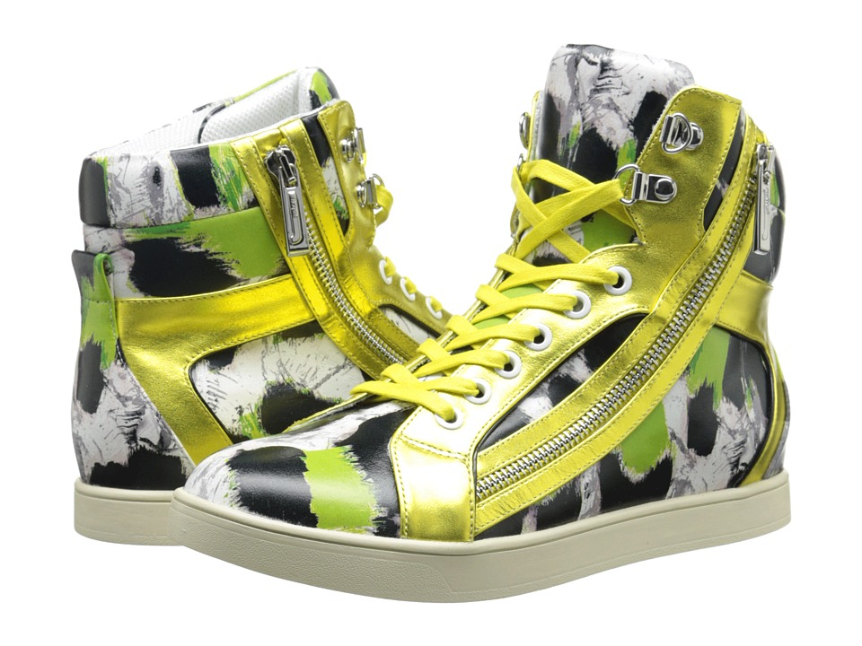 Just Cavalli - Printed High-Top Sneakers (Black/White Paint Leo Printed Leather) Women's Lace up casual Shoes