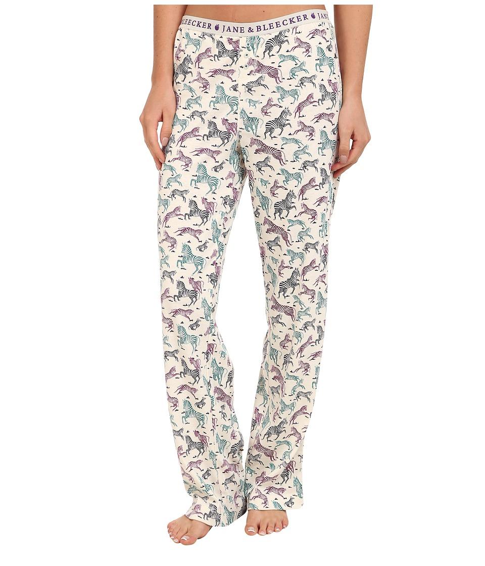 Jane & Bleecker - Rib Pant 359860 (Prancing Zebras) Women's Pajama