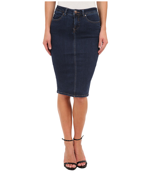 Liverpool - Suzanne Five-Pocket Denim Pencil Skirt - 24 Length (Dark Blue Stone) Women's Skirt