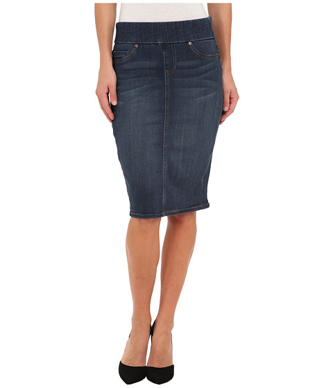 Liverpool - Cecil Pull-On Denim Pencil Skirt - 24 Length (Petrol Blue Wash) Women
