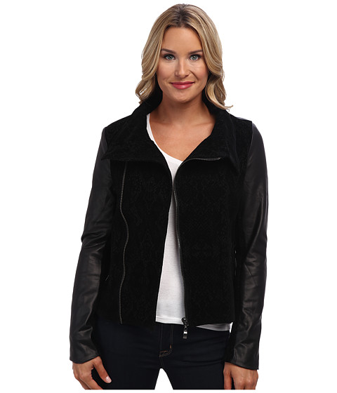 Liverpool - Camila Snake Print Jacket with Asymmetrical Zip (Black) Women