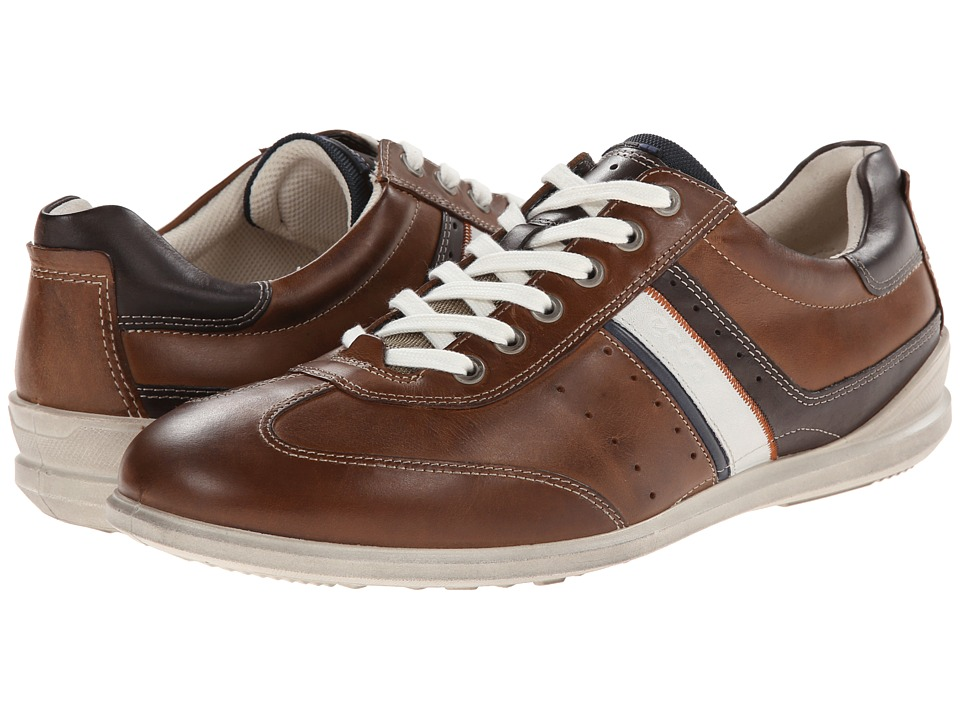 ECCO - Chander Retro Sneaker (Walnut/Marine/White/Coffee) Men's Lace up casual Shoes