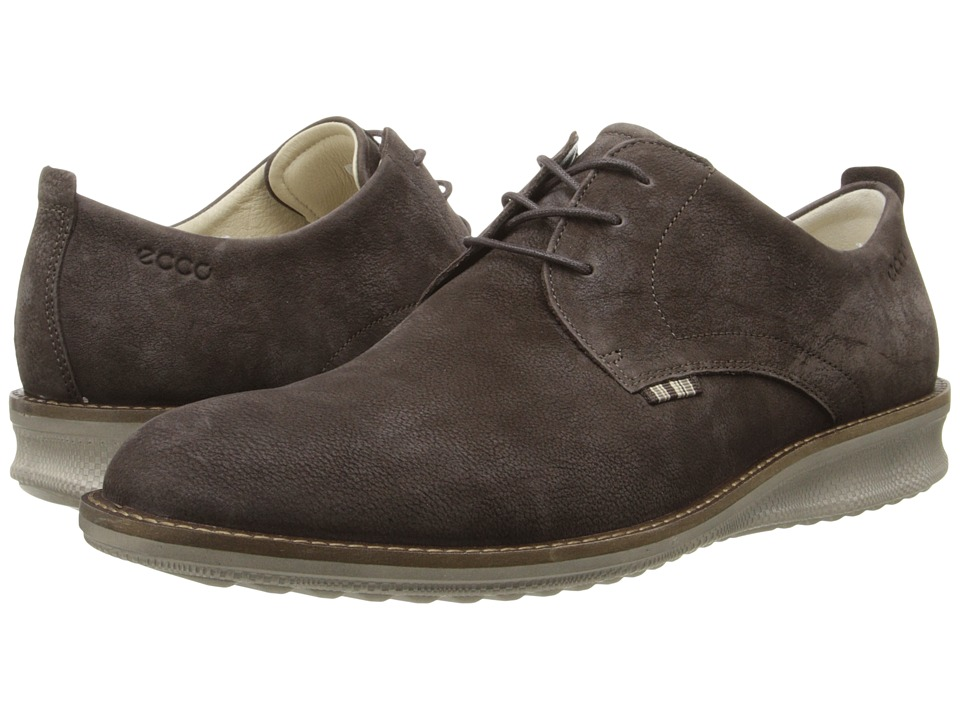 ECCO - Contoured Plain Toe Tie (Mocha) Men's Shoes