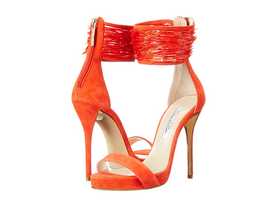 Oscar de la Renta - Sandra (Coral Suede/Goose Feather) High Heels