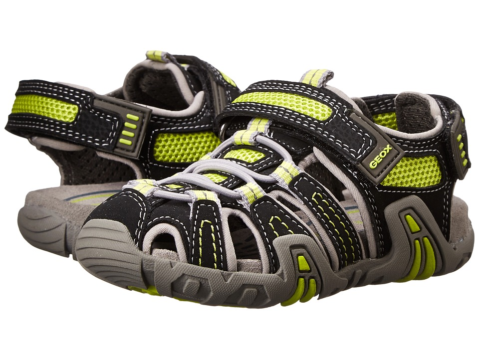 Geox Kids - Jr Kraze 30 (Toddler/Little Kid) (Black/Acid Yellow) Boy
