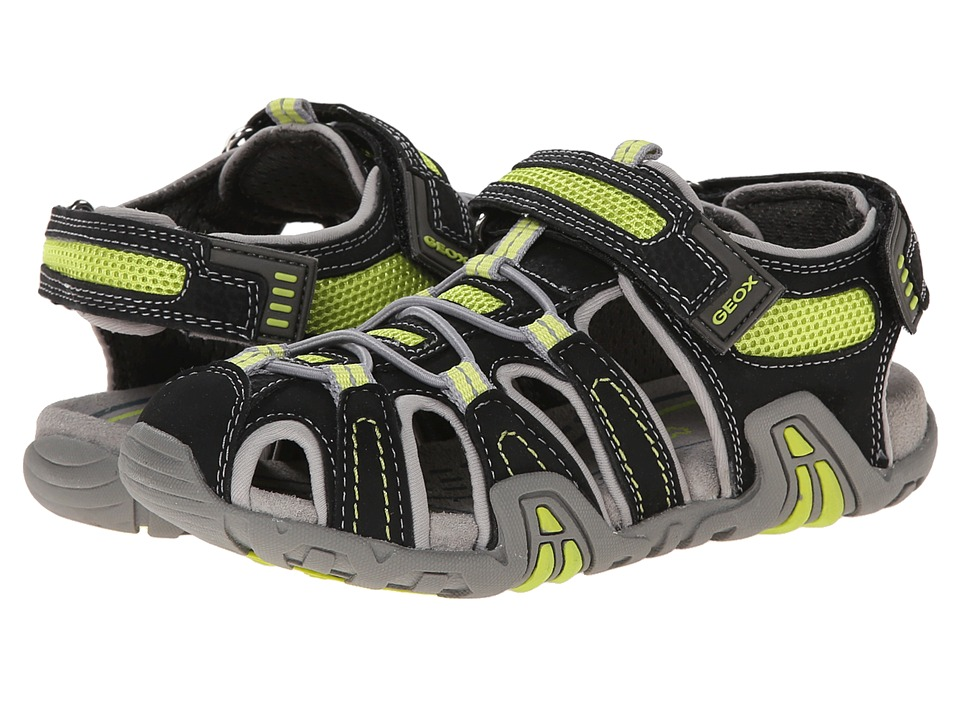 Geox Kids - Jr Kraze 30 (Little Kid/Big Kid) (Black/Acid Yellow) Boy's Shoes