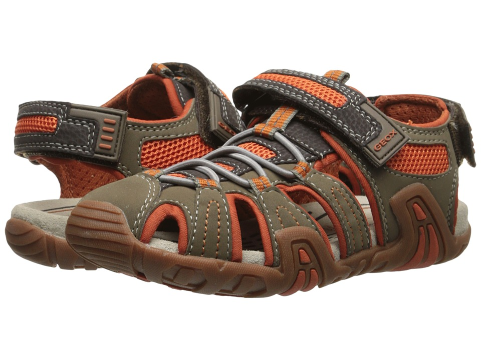 Geox Kids - Jr Kraze 30 (Little Kid/Big Kid) (Brown/Orange) Boy's Shoes