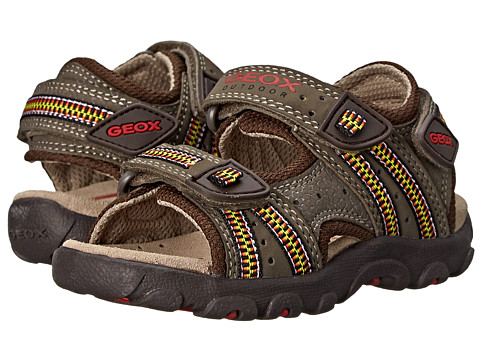 Geox Kids - Jr Strada 11 (Toddler/Little Kid) (Light Brown/Red) Boy