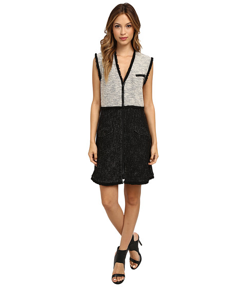 Rachel Zoe - Shelby Tweed Zip Front Dress (Black) Women