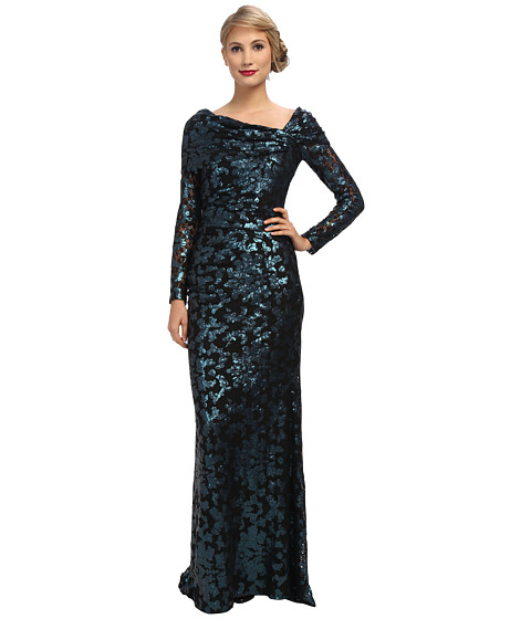 Badgley Mischka - Lace Off The Shoulder Gown (Navy) Women's Dress