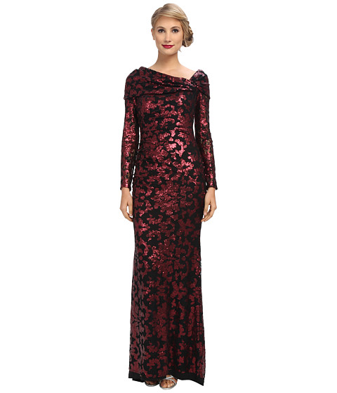 Badgley Mischka - Lace Off The Shoulder Gown (Wine) Women