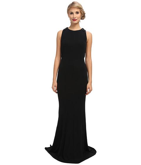 Badgley Mischka - Matte Jersey Knot Back Gown (Black) Women