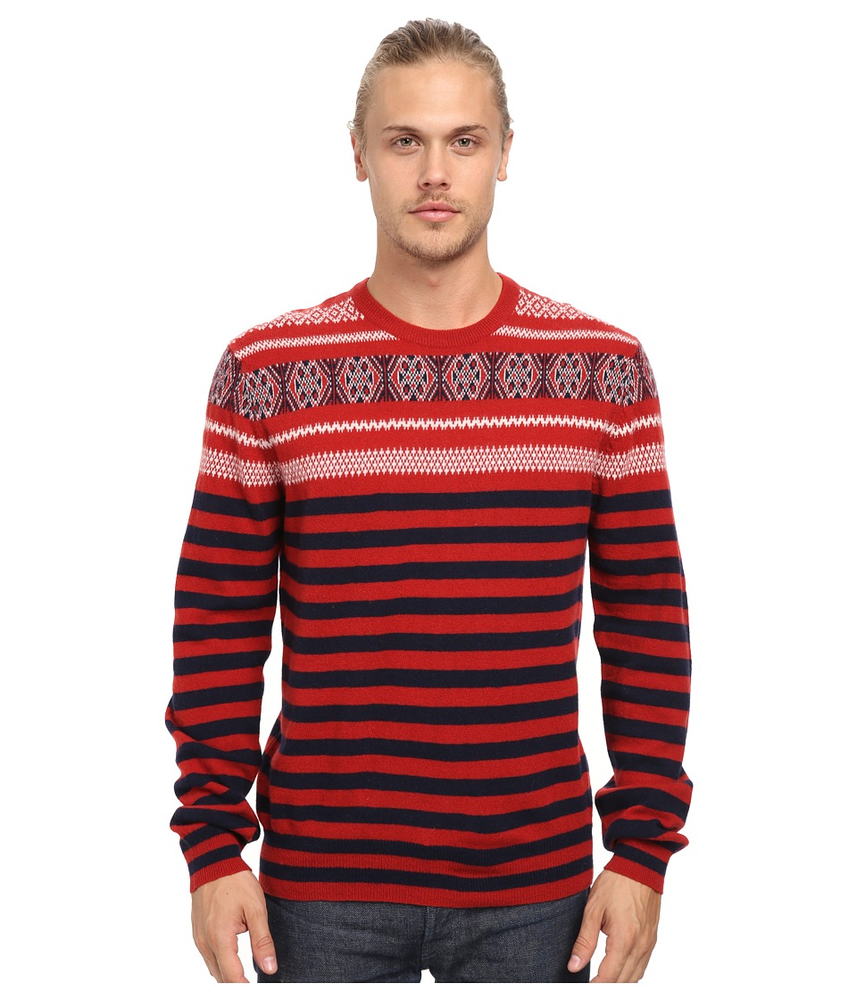 French Connection - Fairisle Stripe Top (Scarlet) Men's Clothing