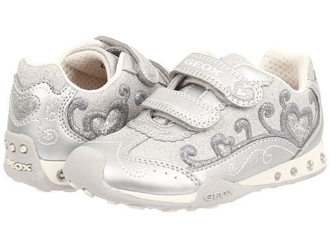 Geox Kids - Jr New Jocker Girl 27 (Toddler/Little Kid) (Silver) Girl's Shoes