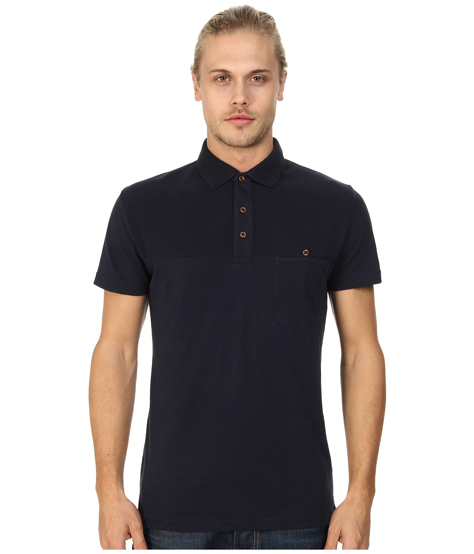 French Connection - Waffle Yoke (Marine Blue) Men's Short Sleeve Pullover