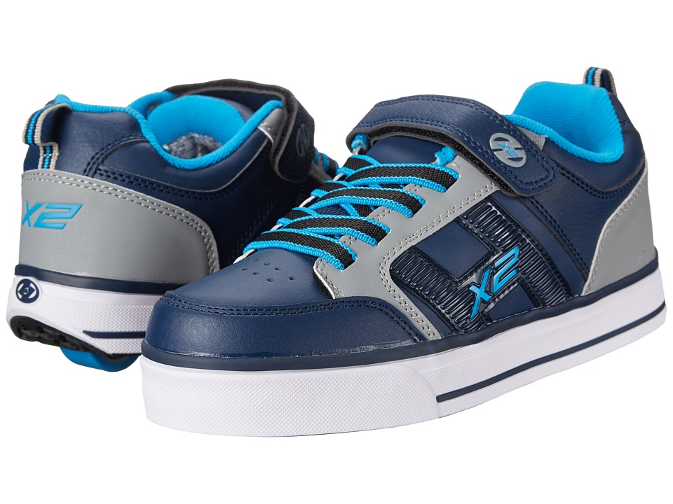Heelys - Bolt Plus X2 Lighted (Little Kid/Big Kid/Adult) (Navy/Grey/New Blue) Boys Shoes