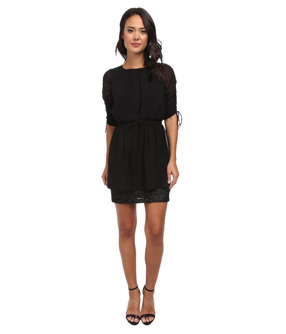 Susana Monaco - Drawstring Sleeve Dress (Black) Women