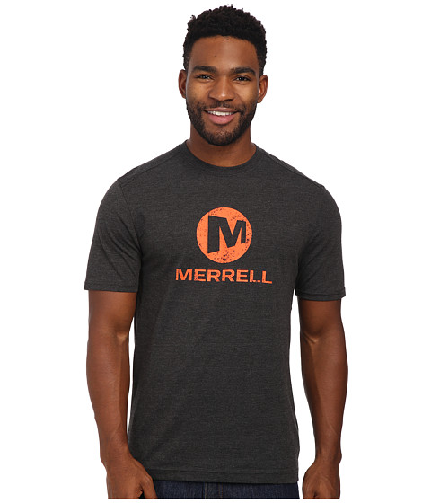 Merrell - Vintage Stacked Logo Tee (Black Heather) Men