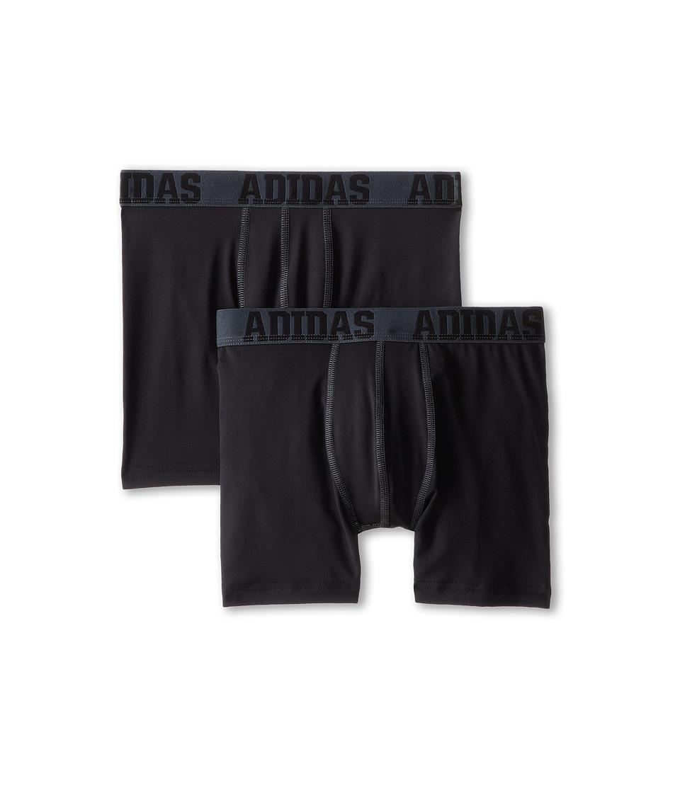 adidas Kids - ClimaLite 2-Pack Boxer Brief (Big Kids) (Black Thunder/Black Thunder) Boy's Underwear