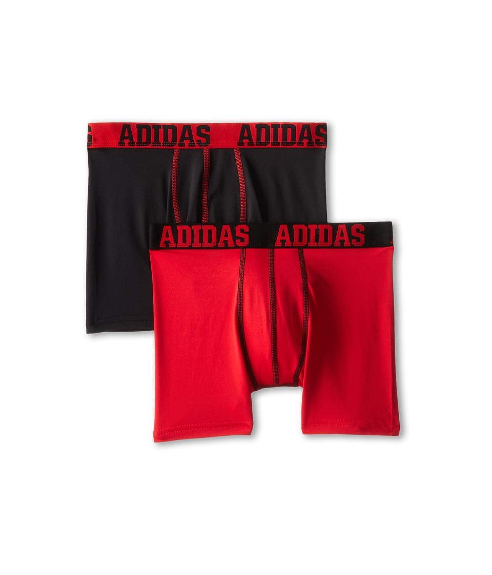 adidas Kids - ClimaLite 2-Pack Boxer Brief (Big Kids) (Black/Real Red/Real Red/Black) Boy's Underwear