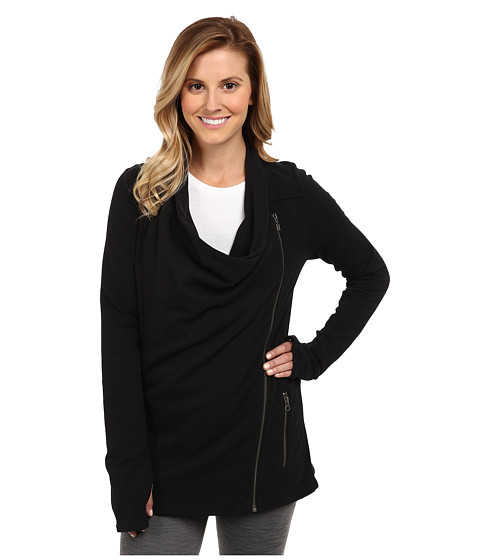 Zobha - Asymmetrical Drape Jacket (Black) Women's Jacket