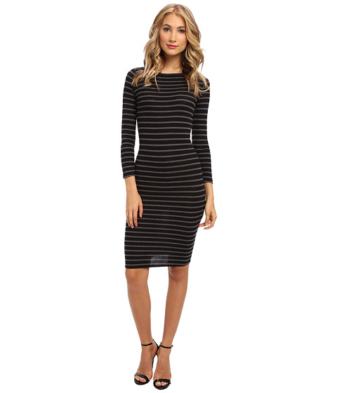 BCBGMAXAZRIA - Briza Striped Dress (Black Heather Grey Combo) Women's Dress