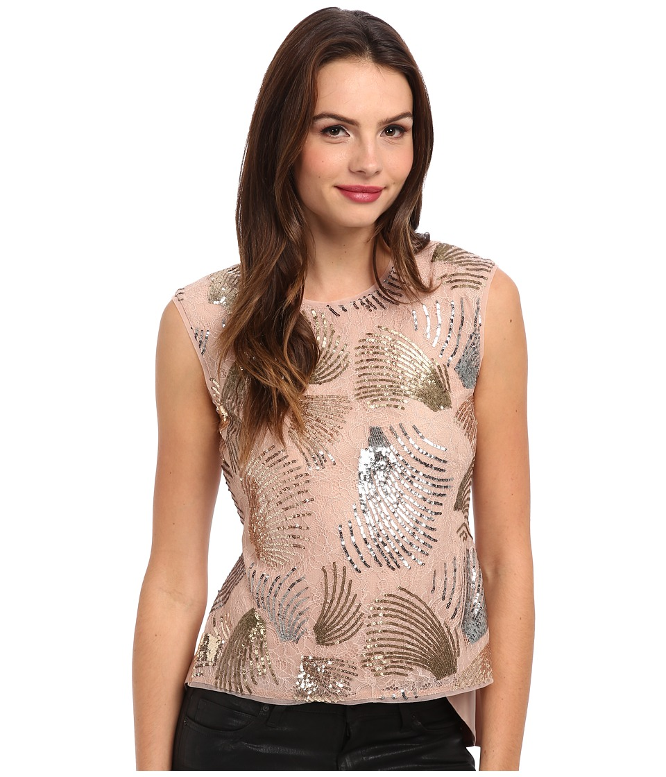 BCBGMAXAZRIA - Savanah Sequin Top (Dark Bare Pink Combo) Women's Sleeveless