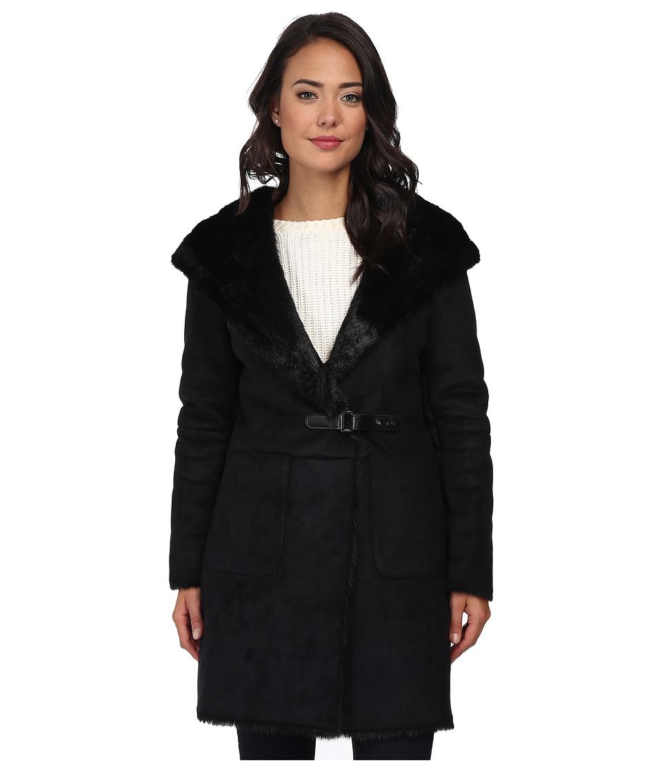 LAUREN by Ralph Lauren - Faux Sherling Coat (Black) Women's Coat