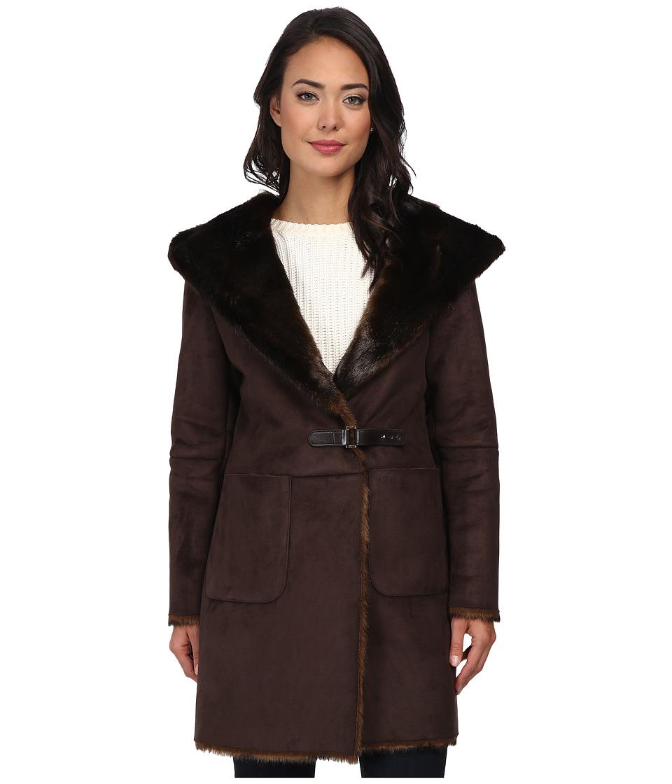 LAUREN by Ralph Lauren - Faux Sherling Coat (Brown) Women's Coat
