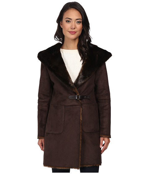 LAUREN by Ralph Lauren - Faux Sherling Coat (Brown) Women