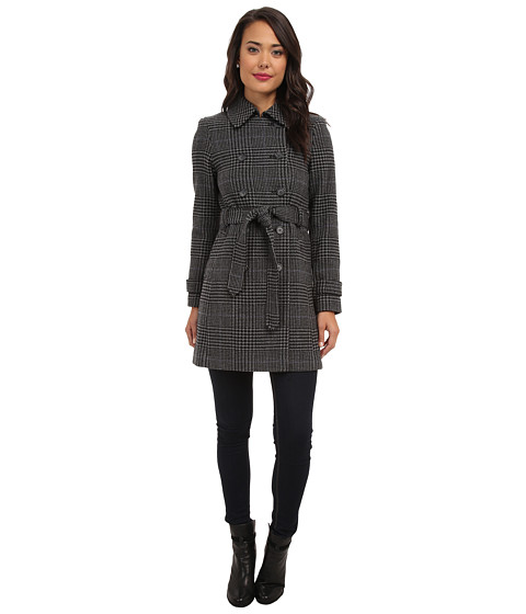 LAUREN by Ralph Lauren - Prince Of Whales Double Belted Trench (Grey/Black) Women's Coat
