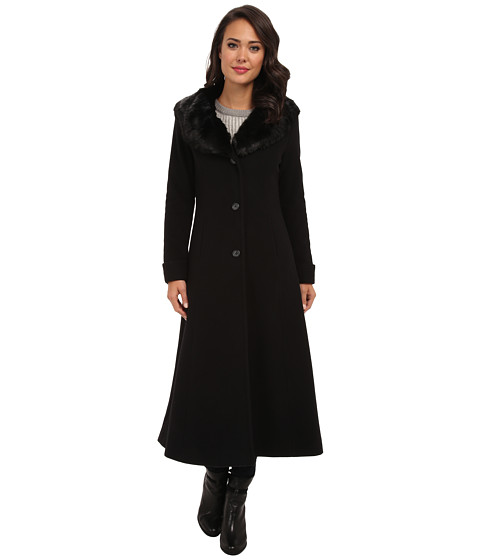 LAUREN by Ralph Lauren - Fit and Flare Maxi w/ Faux Fur (Black) Women's Coat