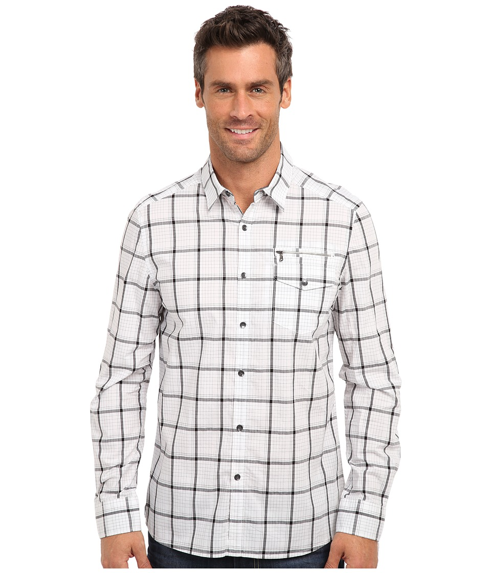 Kenneth Cole Sportswear - L/S Linear Check Zip Pocket Shirt (White Combo) Men's Long Sleeve Button Up