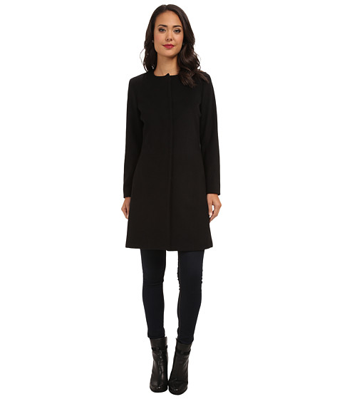 LAUREN by Ralph Lauren - Collarless (Black) Women's Coat