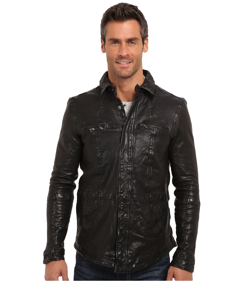 Kenneth Cole Sportswear - Washed Leather Shirt Jacket (Black) Men's Coat