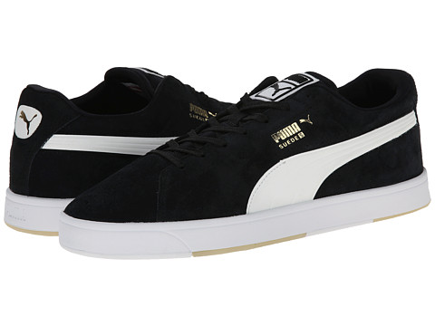 PUMA - Suede Skate (Black/White) Men's Shoes