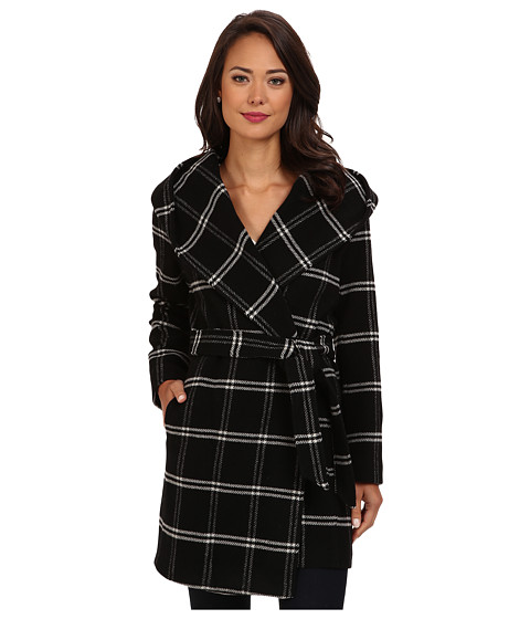 LAUREN by Ralph Lauren - Windowpane Plaid Hooded Wrap Coat (Black/White) Women's Coat