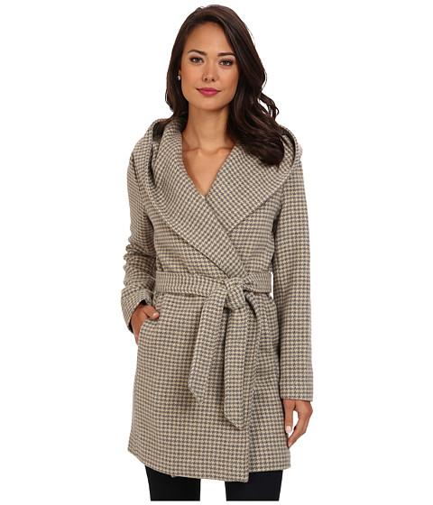 LAUREN by Ralph Lauren - Houndstooth Plaid Hooded Wrap Coat (Grey/Camel) Women