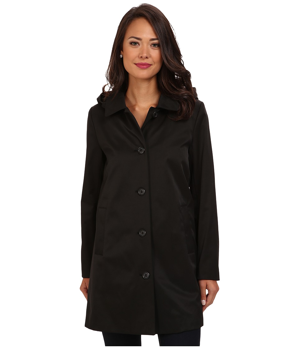 LAUREN by Ralph Lauren - Hooded A-Line Rain Coat w/ Removable Warmer (Black) Women