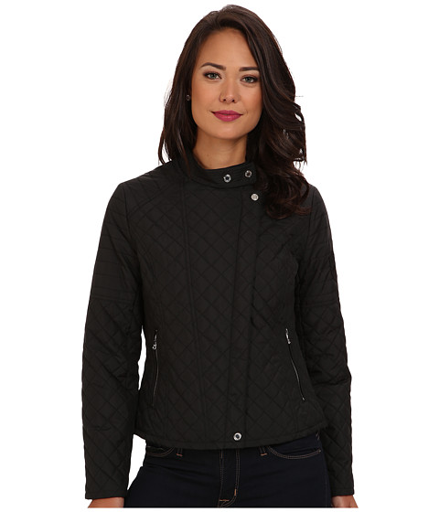 LAUREN by Ralph Lauren - Micro Quilted Moto Jacket (Black) Women's Coat