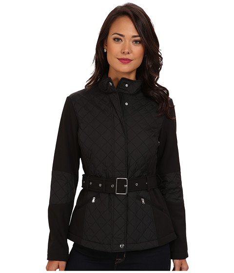 LAUREN by Ralph Lauren - Quilted Combo Soft Shell Jacket (Black) Women's Coat